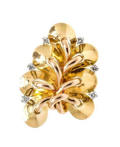 A Retro Gold and Diamond Brooch, 13.00 dwts.