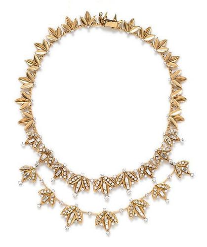 A Retro Yellow Gold and Diamond Necklace with Detachable Swag Accent, 66.40 dwts.