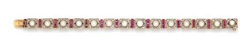 An Antique Platinum Topped Gold, Ruby, Pearl and Diamond Bracelet, Circa 1900, 20.45 dwts.