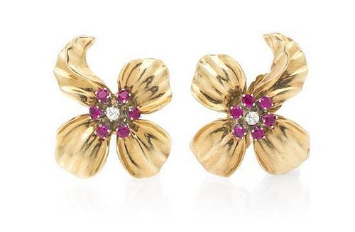A Pair of Retro 14 Karat Yellow Gold, Synthetic Ruby and Diamond Earclips, 12.10 dwts.