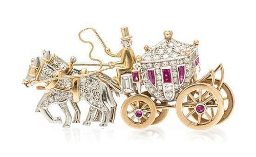 A Platinum, Yellow Gold, Diamond and Synthetic Ruby Horse Drawn Carriage Brooch, 16.90 dwts.