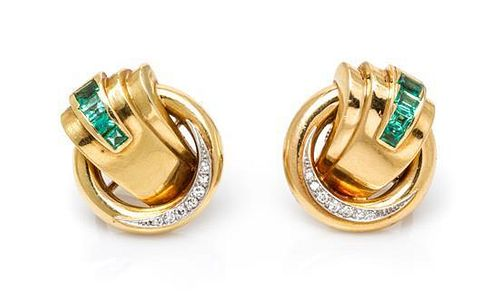 A Pair of Retro 18 Karat Yellow Gold, Platinum, Emerald and Diamond Earrings, 7.00 dwts.