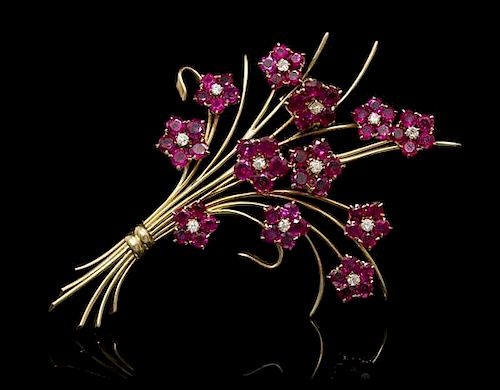 A Retro Yellow Gold, Ruby and Diamond Bouquet Brooch, Van Cleef & Arpels, Circa 1945, 19.60 dwts.
