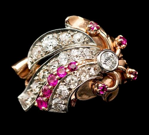 A Retro Platinum Topped Gold, Diamond and Ruby Ring, 6.90 dwts.