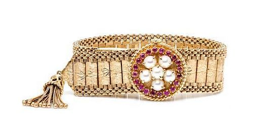 A 14 Karat Yellow Gold, Ruby and Cultured Pearl Belt Bracelet Watch, 38.60 dwts.