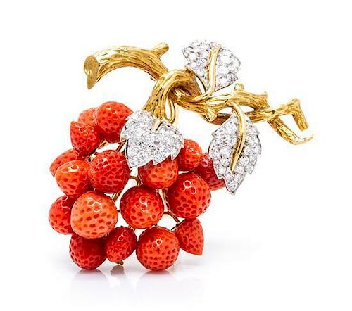 A Vintage 18 Karat Yellow Gold, Diamond and Coral Brooch, Gregory, 31.60 dwts.