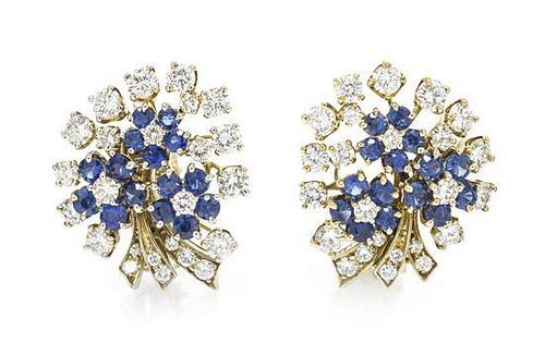 A Pair of Vintage Platinum, Sapphire and Diamond Earclips, 14.00 dwts.