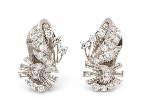 A Pair of Platinum and Diamond Earclips, 10.00 dwts.