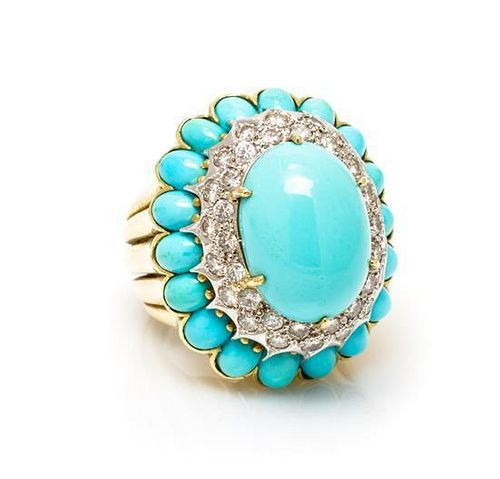 An 18 Karat Yellow Gold, Turquoise and Diamond Ring, La Triomphe, 19.60 dwts.