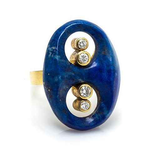 An 18 Karat Yellow Gold, Lapis Lazuli and Diamond Ring, Toliro, 7.90 dwts.