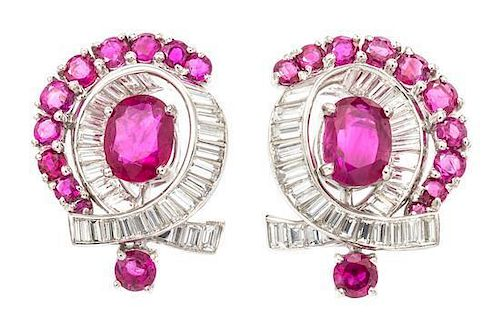 A Pair of Platinum, Diamond and Ruby Earclips, Circa 1950, 8.70 dwts.