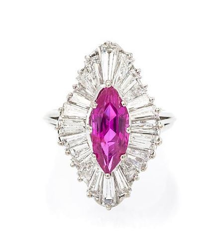 A Platinum, Pink Sapphire and Diamond Ring, 4.60 dwts.
