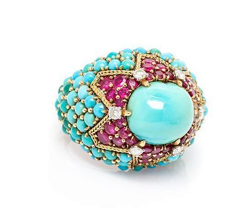 An 18 Karat Yellow Gold, Turquoise, Ruby and Diamond Bombe Ring, Marchak, Paris, 13.00 dwts.