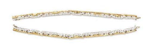 A Pair of Platinum, 18 Karat Yellow Gold and Diamond Bracelets, 37.30 dwts.