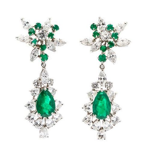 A Pair of Platinum, Emerald and Diamond Convertible Earclips, 10.00 dwts.