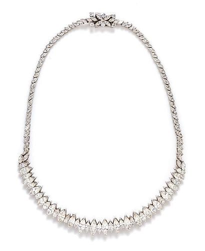 A Platinum and Diamond Necklace, 33.20 dwts.