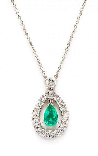 A Platinum, Diamond and Emerald Pendant, 3.60 dwts.