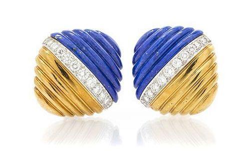 A Pair of 18 Karat Yellow Gold, Lapis Lazuli and Diamond Earclips, 18.50 dwts.