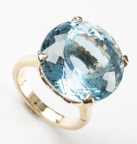 14K 20 Carat Fancy Cut Blue Topaz Ring