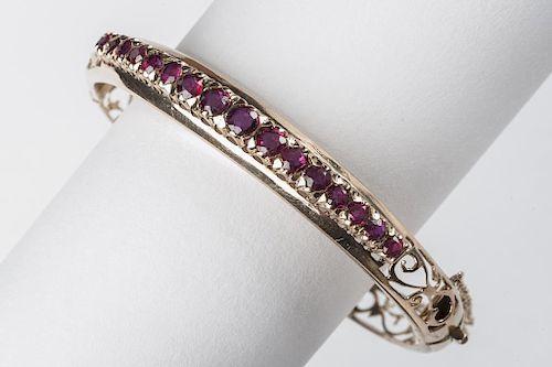 18K 1.95 CTW Ruby Bangle Bracelet