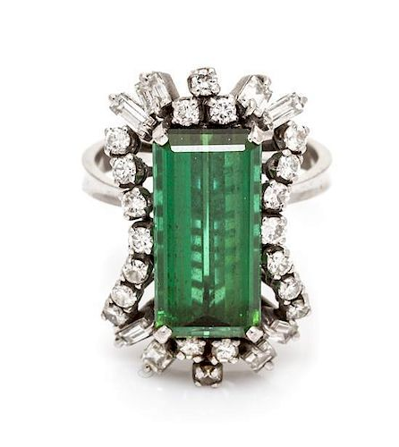 A White Gold, Tourmaline and Diamond Ring, H. Stern 4.60 dwts.