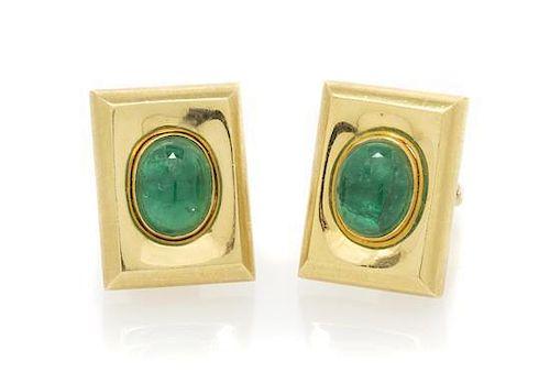 A Pair of 18 Karat Yellow Gold and Emerald Cufflinks, 30.15 dwts.
