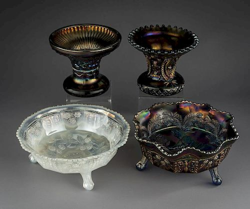 4 Pcs Carnival Glass Incl Northwood & Fenton