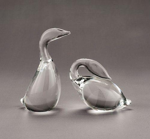 2 Steuben Crystal Swans