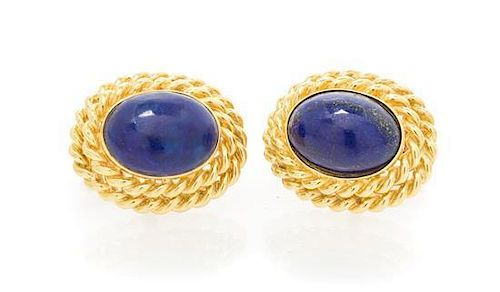 A Pair of Yellow Gold and Lapis Lazuli Cufflinks, 12.55 dwts.