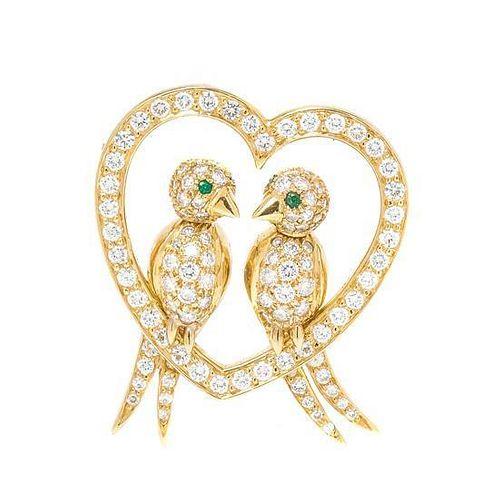 An 18 Karat Yellow Gold, Diamond and Emerald Love Birds Brooch, Van Cleef & Arpels, 8.00 dwts.