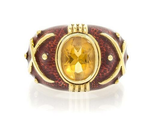 An 18 Karat Yellow Gold, Citrine and Enamel Ring, 9.32 dwts.