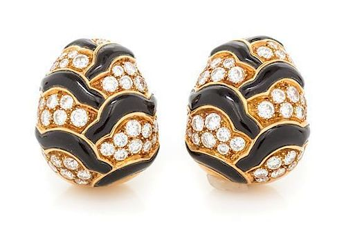A Pair of 18 Karat Yellow Gold, Onyx and Diamond Earclips, Van Cleef & Arpels, 23.66 dwts.