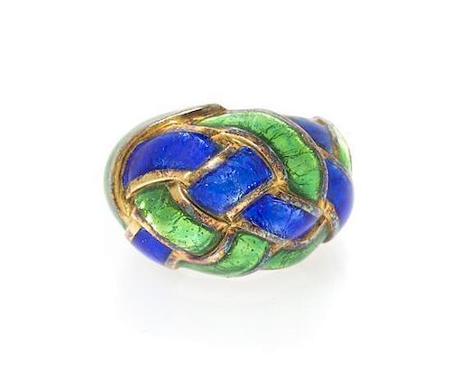 An 18 Karat Yellow Gold and Polychrome Enamel Ring, Schlumberger for Tiffany & Co., 10.16 dwts.