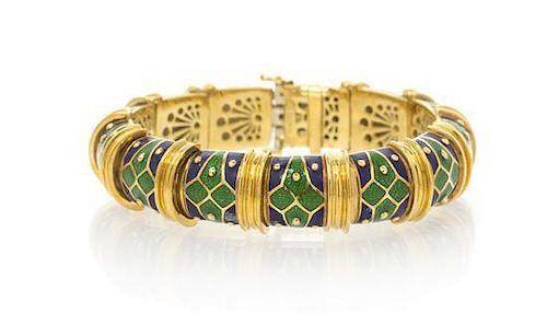 An 18 Karat Yellow Gold and Polychrome Enamel Bracelet, Mavito, 64.15 dwts.