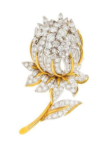 A Vintage Platinum, 18 Karat Yellow Gold and Diamond Flower Brooch, Ruser, 15.00 dwts.