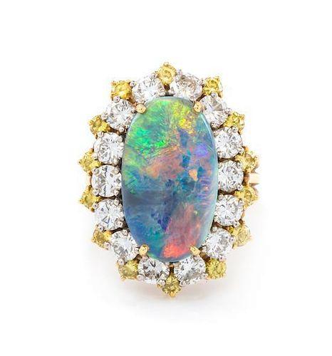 An 18 Karat Yellow Gold, Black Opal, Colored Diamond and Diamond Ring, 6.75 dwts. 6.75 dwts.