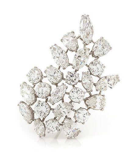 A Platinum and Diamond Spray Brooch, 19.30 dwts.