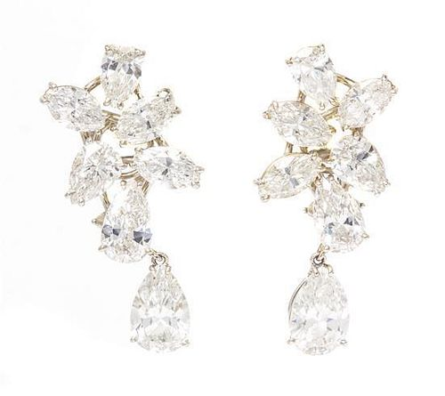 A Vintage Pair of Platinum and Diamond Earrings, Ruser, 5.10 dwts.