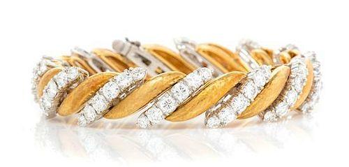A Vintage Platinum, 18 Karat Yellow Gold and Diamond Bracelet, Ruser, 40.00 dwts.