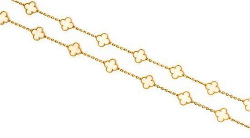 An 18 Karat Yellow Gold and White Coral Alhambra Necklace, Van Cleef & Arpels, 33.10 dwts.