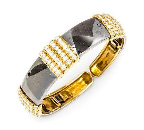 An 18 Karat Gold and Diamond Cuff Bracelet, Van Cleef & Arpels, 30.00 dwts.