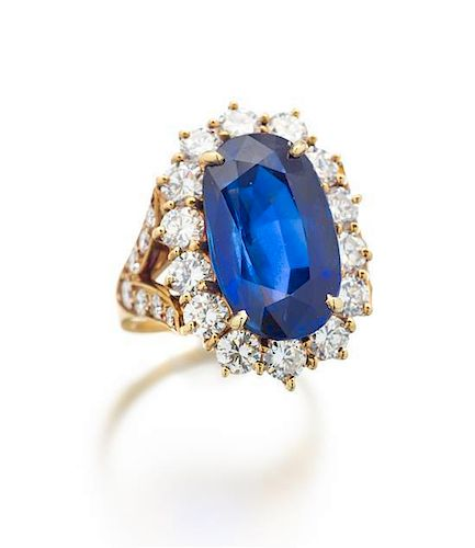A Fine 18 Karat Yellow Gold, Burmese Sapphire and Diamond Ring, Van Cleef & Arpels, 7.00 dwts.