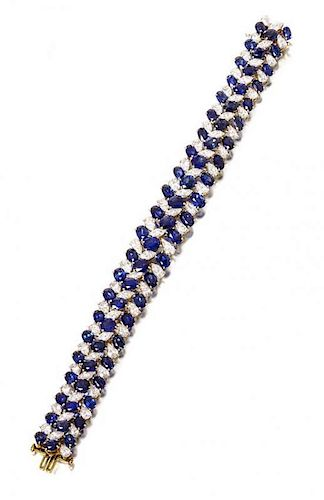 A Vintage Platinum, Sapphire and Diamond Bracelet, Oscar Heyman Brothers for Ruser, 29.60 dwts.
