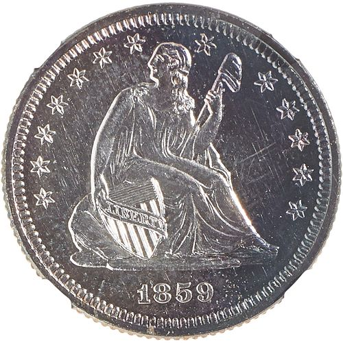 U.S. 1859 PROOF NO MOTTO SEATED LIBERTY 25C COIN