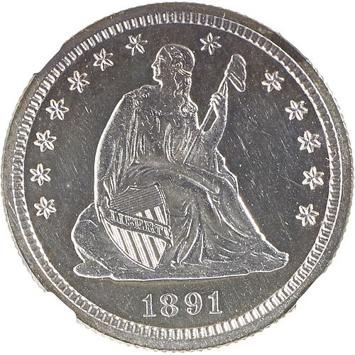 U.S. 1891 PROOF SEATED LIBERTY 25C COIN