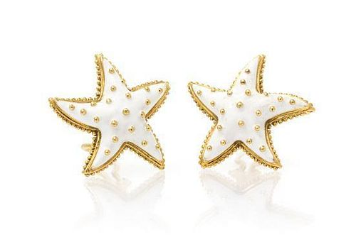 A Pair of 18 Karat Yellow Gold and Enamel Earclips, 21.10 dwts.