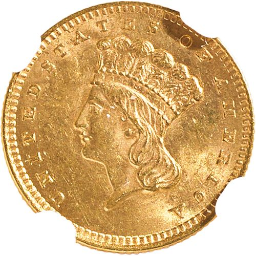 U.S. 1856 SLANTED 5 INDIAN HEAD $1 GOLD COIN