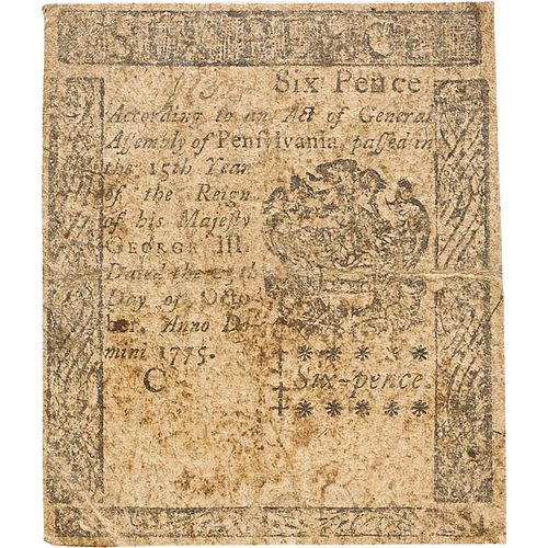 1775 PENNSYLVANIA COLONIAL NOTE 6 PENCE