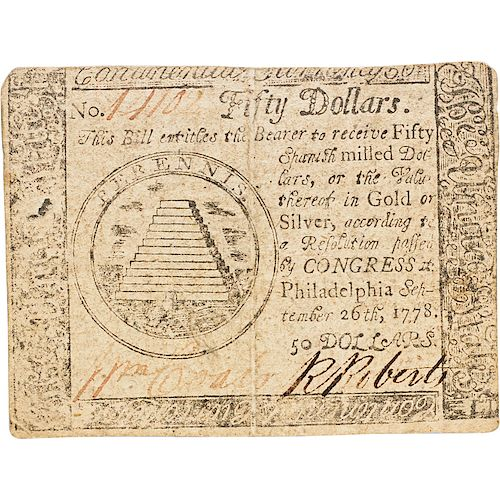 1778 CONTINENTAL CURRENCY COUNTERFEIT $50