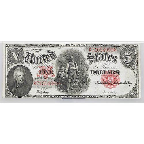 1907 $5 LEGAL TENDER NOTE